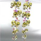 STUNNING Lemon Yellow Iridescent Czech Crystals WATERFALL Dangle Earrings