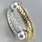 Designer Style Gold Kali Silver Weave CZ Crystals Gray Pearls Bangle Bracelet