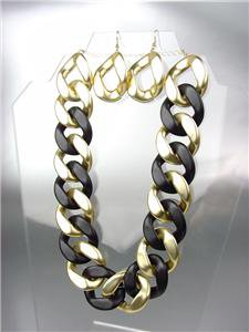 Stylish CHUNKY Satin Frosted Gold & Black Acrylic Chain Chains Necklace Set