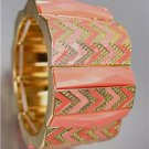 EXPRESSIVE Coral Salmon Acrylic Crystals Chevron Enamel Gold Stretch Bracelet