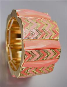 EXPRESSIVE Coral Salmon Acrylic Crystals Chevron Enamel Gold Stretch Bracelet