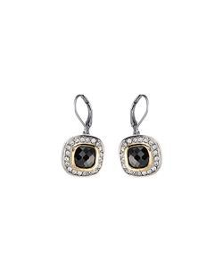 CLASSIC 18kt White Gold EP Black Onyx CZ Crystal Petite Dangle Earrings