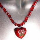 DECORATIVE Red Multi Cloisonne Enamel Floral Heart Pendant Necklace