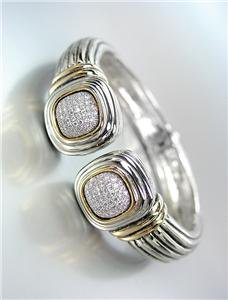 CLASSIC Square Pave CZ Crystals End Tips Silver Cable Hinged Cuff Bracelet