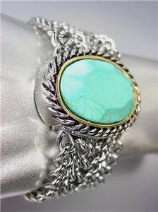 CHUNKY Brighton Bay Turquoise Stone Silver Cable Medallion Chain Bracelet