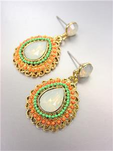 FAB CHIC Urban Anthropologie Opal Crystals Coral Turquoise Beads Gold Earrings