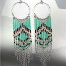 Turquoise Multi Silver Chains Bohemian Boho Gypsy Peruvian Chandelier Earrings