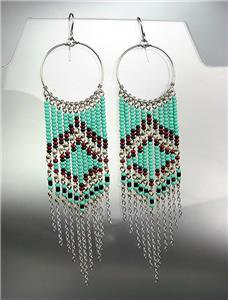 Turquoise Multi Silver Chains Bohemian Boho Gypsy Peruvian Chandelier Earrings