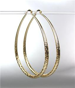 """SPARKLE CHIC GOLD Metal Large 3"""" Long THIN Oval Hoop Pincatch Earrings"""