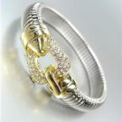 GORGEOUS Designer Style Gold CZ Crystals Buckle Latch Silver Omega Bracelet