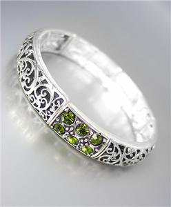 NEW Brighton Bay Olive Green CZ Crystals Silver Black Filigree Stretch Bracelet