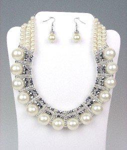 GLITZY Creme Pearls HEMATITE Crystals Drape Necklace Earrings Set BRIDAL