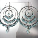 FABULOUS Blue Topaz Crystals Antique Metal Chandelier Dangle Peruvian Earrings