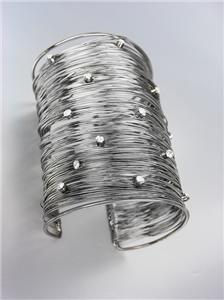 CHIC Thin Antique Silver Metal Wires CZ Crystals WIDE Statement Cuff Bracelet