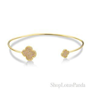 GORGEOUS 18kt Gold Plated Pave CZ Crystals Clover Clovers Thin Cuff Bracelet