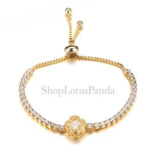 EXQUISITE 18kt Gold Plated CZ Crystals Clover Crystal Links Chain Bracelet