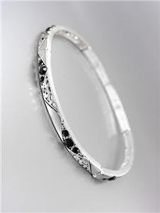 CLASSIC NEW Brighton Bay Thin Silver Filigree Black CZ Crystals Stretch Bracelet