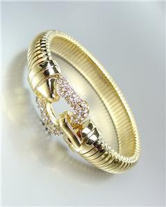 GORGEOUS Designer Style Gold CZ Crystals Buckle Latch Omega Band Bracelet