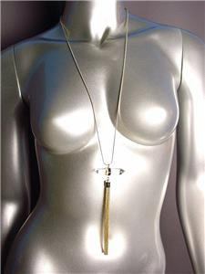 "CHIC Clear Quartz Crystal Gold Tassel Pendant 34"" Long Gold Snake Chain Necklace"
