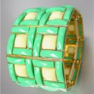EXPRESSIVE Chunky Aqua Blue Green Creme Acrylic Crystals Gold Stretch Bracelet