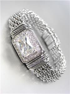 STUNNING Emerald cut CZ Crystal Pave Crystals Silver Mesh Magnetic Bracelet