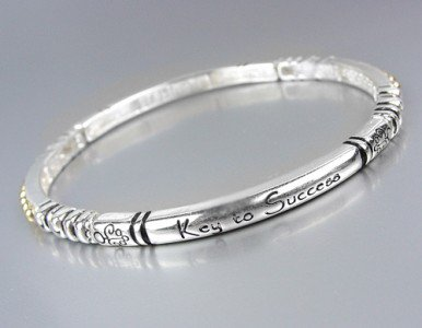 Inspirational Silver Stretch KEY TO SUCCESS Stackable Bracelet