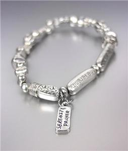 INSPIRATIONAL Antique Silver Beads Petite SERENITY PRAYER Charm Stretch Bracelet