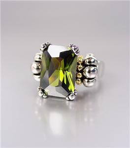 CLASSIC Silver Emerald-cut Dark Olive Green CZ Crystal Glacier Ring