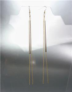 CHIC & UNIQUE Gold Hollow Bar Chains Shoulder Duster Extra Long Dangle Earrings