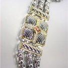 CLASSIC Designer Silver Cables Square Cable Brown Topaz CZ Medallion Bracelet