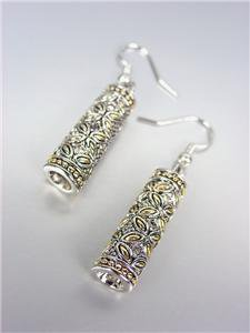 Designer Style Silver Gold Balinese Floral Butterfly CZ Crystals Barrel Earrings