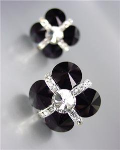 EXQUISITE Black Clear Czech Crystals Bridal Prom Pageant Queen CLIP Earrings