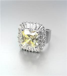 LUMINOUS 18kt White Gold Plated 12.46CT Canary Yellow CZ Crystals Cocktail Ring