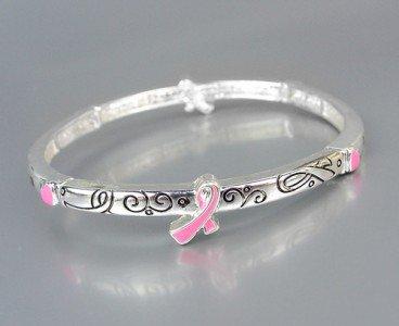Inspirational Pink Ribbon BREAST CANCER AWARENESS Stretch Stackable Bracelet