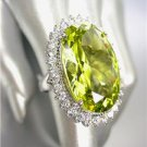 STUNNING Chunky Olive Peridot CZ Crystal Round CZ Crystals Oval Cocktail Ring