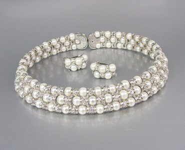LUXURIOUS Off White Pearls CZ Crystals Choker Necklace Set Bridal Wedding