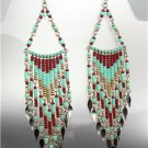 Turquoise Multi Beads Bohemian Boho Gypsy Peruvian Chandelier Dangle Earrings B7