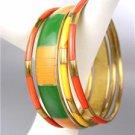 CHIC 4 PC Tangerine Orange Bamboo Green Saffron Yellow Resin Bangle Bracelets
