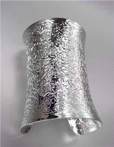 CHIC Chunky SILVER Byzantine Filigree Texture WIDE Cuff Statement Bracelet