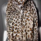EXOTIC Brown Leopard Prints Gauze Viscose Scarf with Fringe Tassels