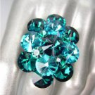 GLITZY Blue Zircon Teal Czech Crystals Oval Cluster Large Cocktail Ring