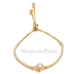 EXQUISITE 18kt Gold Plated Princess CZ Crystal Crystals Links Chain Bracelet