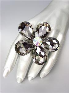 STUNNING Chunky Smoky Gray Czech Crystals Floral DIVA Queen Cocktail Ring