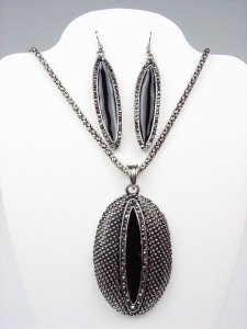 VICTORIAN Antique Black Enamel Marcasite Crystals Pendant Necklace Earrings Set
