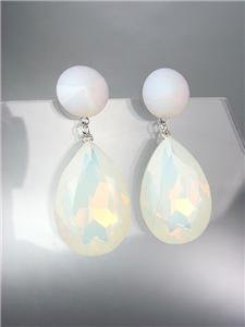 GLITZY White Moon Opal Czech Crystals Bridal Queen Pageant Prom Earrings