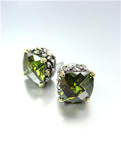 Designer PETITE Silver Gold Balinese Filigree Olive Peridot CZ Crystal Earrings