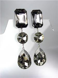 GLITZY Smoky Gray Black Czech Crystals LONG Bridal Queen Pageant Prom Earrings