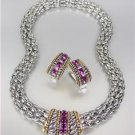 Designer Style Silver Cable Purple Amethyst CZ Crystals Barrel Mesh Necklace Set