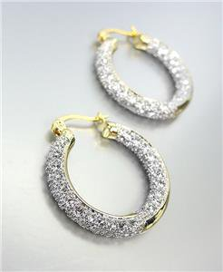 CLASSIC 18kt Gold Plated INSIDE OUTSIDE Pave CZ Crystals 3/4 Inch Hoop Earrings