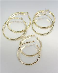 CHIC & STYLISH Gold Plated Bamboo Motif 3 PAIRS Round Hoop Earrings